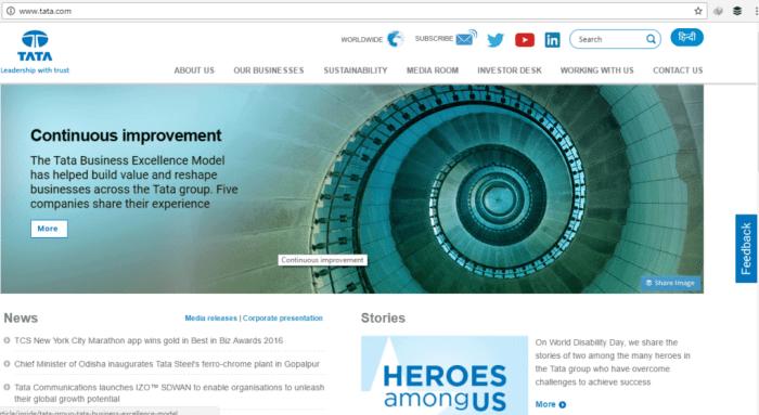 Tata Home Page Screenshot