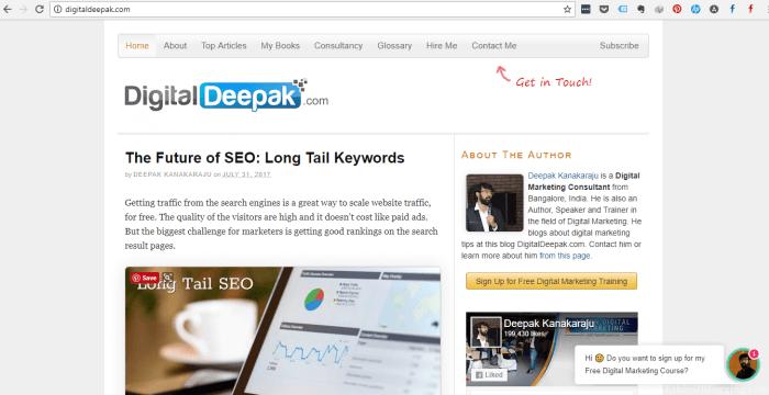 DigitalDeepak Homepage Screenshot
