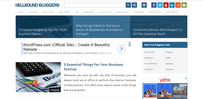 HellBoundBloggers Homepage Screenshot