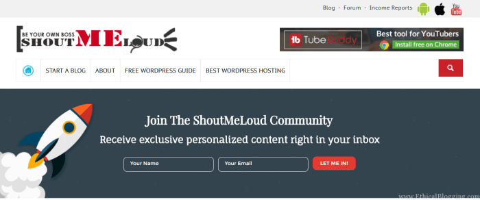 ShoutMeLoud Homepage Screenshot