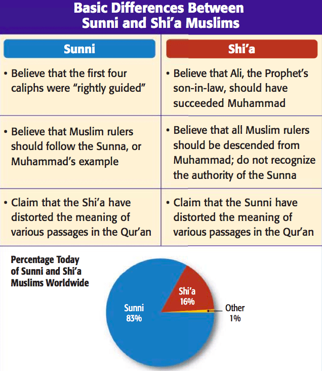 comparison between the sunnis and shiites essay Explore how historical divisions of political and spiritual leadership separated shia and sunni muslims critical differences between syria's alawites and shiites.