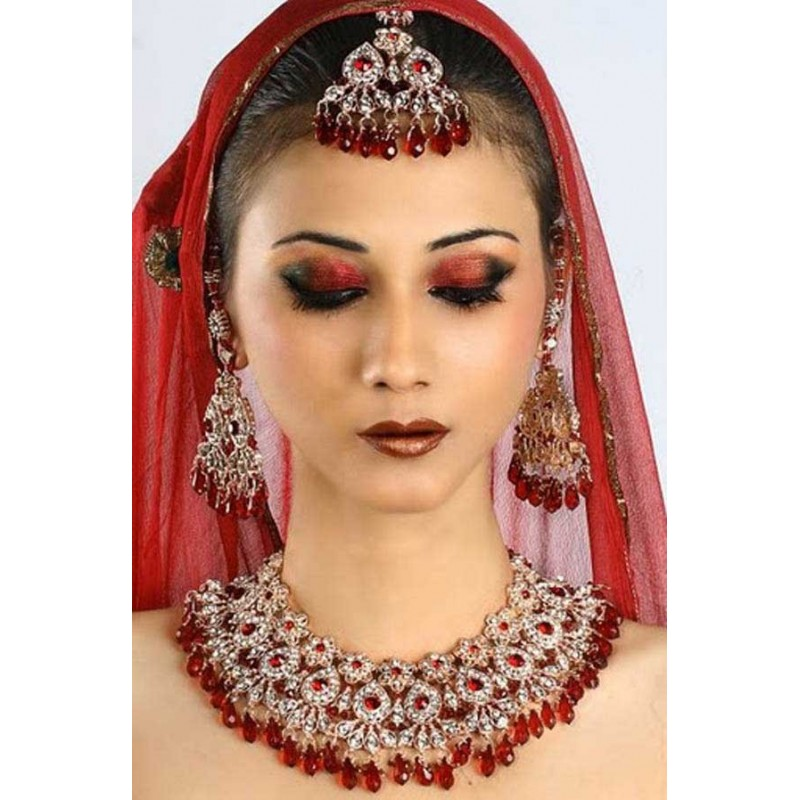 Acheter Parure indienne bijoux ethniques mariage bollywood rouge