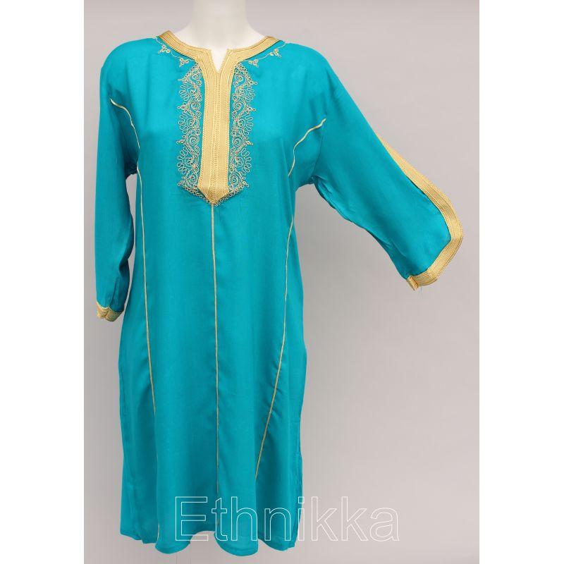 Acheter une robe tunique femme orientale turquoise et dor