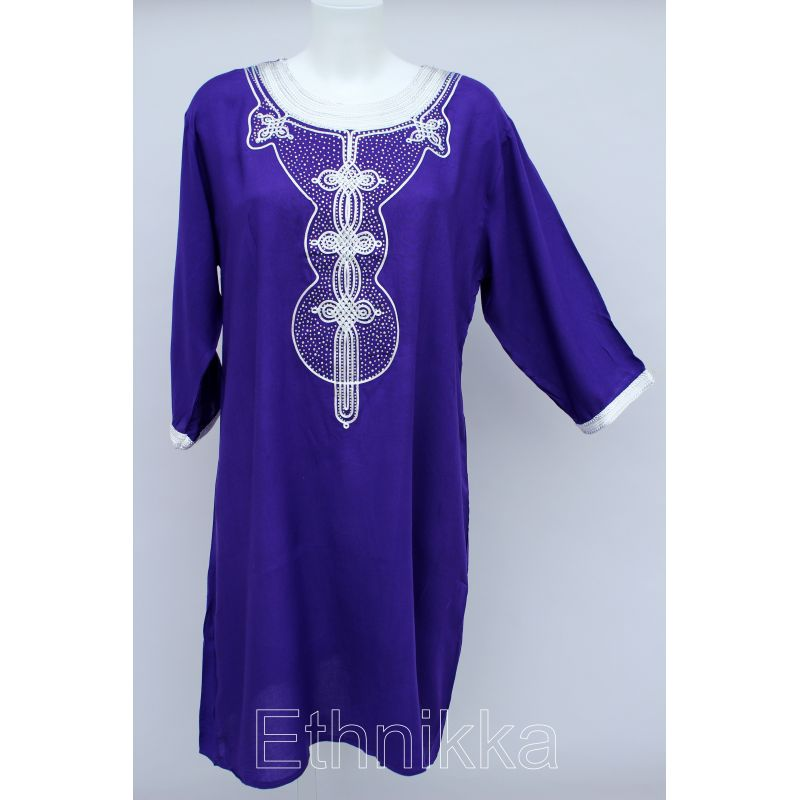 Acheter une robe tunique femme orientale longue violette