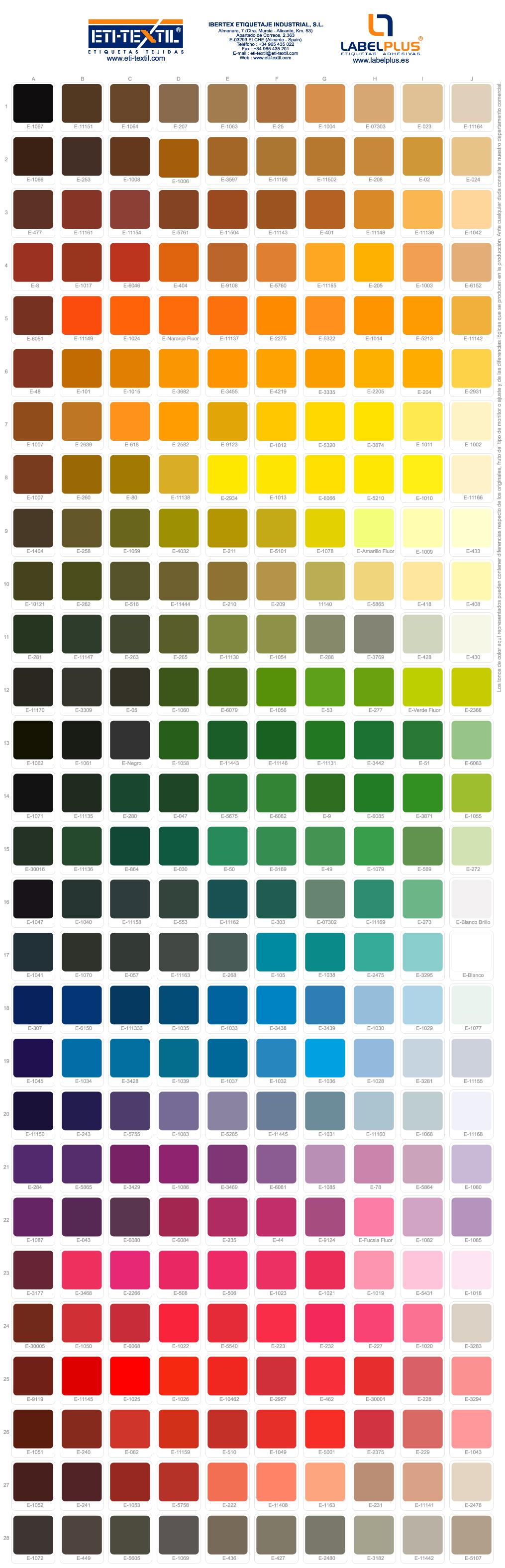 Catlogo de colores  ETITEXTIL