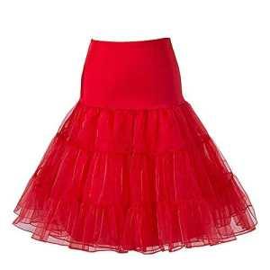 BOOLAVARD 1950 26″ Rockabilly Jupon Jupon Retro Vintage Petticoat Tutu Swing Rouge, Noir, Blanc, Bleu, Rose (L-XL (42-50), Rouge)