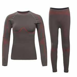 byary (TM) femmes hiver chaud long Johns Sous-Vêtement Thermique Long longueur du haut + pantalon pour sports en extérieur Base couches de vêtements XL Marron – Marron
