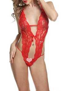 HOTOUCH Femme Sexy Lingerie Erotique Combinaison Ensemble Lingerie Nuisette Sous Vêtement Rouge M