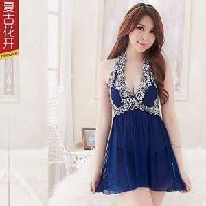ZMZX*La tentation de la transparence également les sous-vêtements sexy en V profond tempérament féminin peignoir et pyjama , code , sont bleu