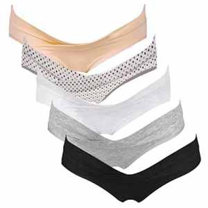 Intimate Portal Femme Pack Multiple de Slips Brésiliens de Maternité Sous le Ventre, 5 Lot, Naturel – L