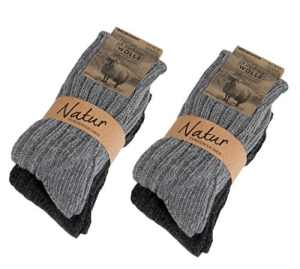 BRUBAKER Chaussettes tricotées en Cachemire – Lot de 4 Paires – 48% Laine de mouton et 40% Cachemire – Unisexe – 35-38 – Gris