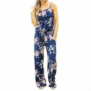 SUNNOW Combi Femme Sexy Casuel Romper Combinaison Jumpsuit d'été Combi Pantalon Longue à Bretelle Imprimé Fleure Lâche Jumpsuit Femme Chic Debardeur sans Manches de Plage (M, Bleu Foncé)