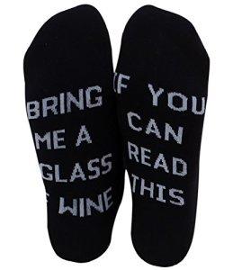 «If You can read this» »Bring Me a Glass of Wine/Beer» Chaussettes de Vin Bière Chaussettes D'équipage en Coton Drôles pour Femmes Hommes