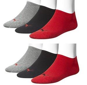6 pair Puma Sneaker Invisible Socks Unisex Mens & Ladies In 3 Colours – rouge/noir/gris (2x3er Lot), 47/49