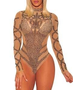 COSIVIA Sexy Body Femme Strass Bustier Faux Maille Manches Longues Bodysuit Justaucorps Débardeur (Kaki Noir, S)