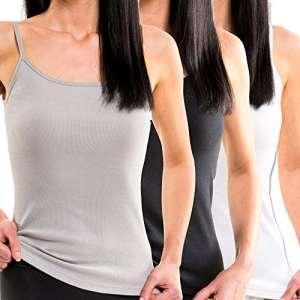 HERMKO 1560 Lot de 3 Débardeur Femme Top en 100% coton fine côte (lisse), Taille:34/36 (XS), Couleur:Mix b/n/g