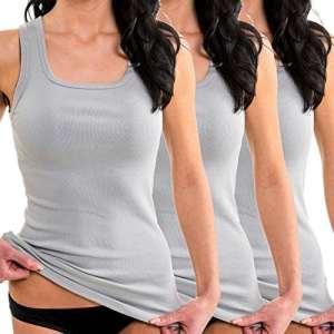 HERMKO 1325 Lot de 3 Longshirts 100% coton débardeurs pour Femme pour sens dessus dessous, Taille:38/40 (S), Couleur:gris