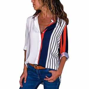Top rayé à manches longues Femmes, Toamen Bande multicolore Top chemise boutonné Décontractée Bouton de rayure de bloc de couleur t-shirt Tops Blouse (L, Multicolore A)