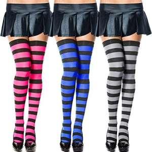 Chalier 3 paires longues chaussettes rayées des femmes au-dessus des chaussettes hautes de genou de cuisse