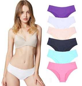 Culottes Femme Soie Glacée Invisible sans Couture Slips Shorties (Lot de 6) Six Couleurs XS