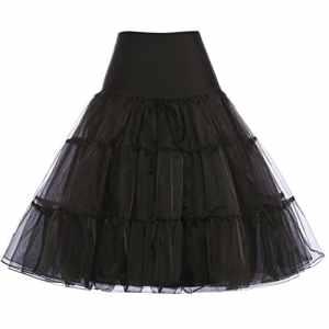 Femme Belle Jupon en Fil Crinoline de Bon Qualité Noir Taille S YF08922-1 – Noir (Au genou) – Small