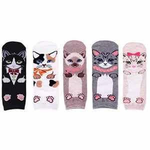 LHZY Womens Girls Socks 5 Pack, conception de cercle lié de nouveauté drôle, mélange de coton sur la cheville