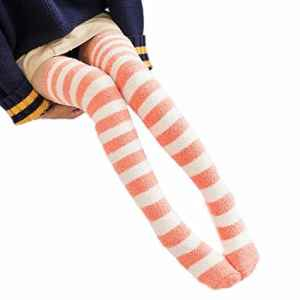 Sisit Chaud hiver sur les chaussettes de genou. Bas de coton confortable 70cm / leggin pour fille / adolescent / femme (Orange)