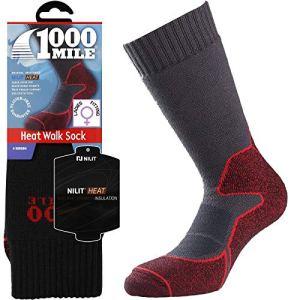 1609,3km Winter Blister gratuit Absorbe la chaleur Marche randonnée pour femme épais double couche Chaussettes Anthracite/rouge (Medium/6–8.5uk)–3paires