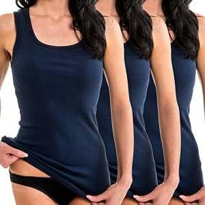 HERMKO 1325 Lot de 3 Longshirts 100% Coton débardeurs pour Femme pour Sens Dessus Dessous, Couleur:Bleu foncé, Taille:34/36 (XS)
