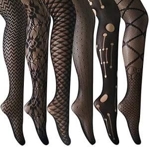 ANDIBEIQI Collants Bas Résille, 6 Paires Femmes Hollow Collant extensible filet élastique confortable noir/motifs fleurs