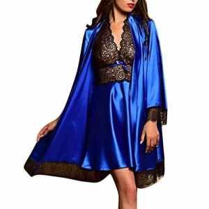 Ensemble de 2 pièces Luxe Lingerie de Nuit Robe de Chambre Pyjama Vêtement en Soie Imitant Satin Bain Sexy Nuisette Chemise de Nuit Peignoir Dentelle Col V Noir/Rouge/Bleu