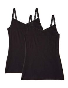 Iris & Lilly Slim Rib Maillot De Corps Noir (Black), 38 (Taille Fabricant: Small), Lot de 2