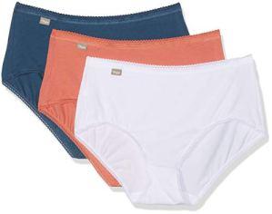 Playtex Coton – Culotte midi 2+1 Gratuit Slip Femme, Multicolore (Blanc/Marine Fonce/Orange 0AE), Taille Fabricant:42 (Lot de 3)