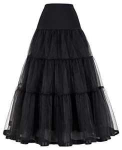 Femme Jupon Rétro Vintage Crinoline Noir pour Femme YF010421-1 – Noir – Taille XL