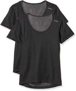 Odlo Shirt s/s Crew Neck Active Cubic Light 2 Pack Undershirt Femme, Ebony Grey-Black, FR (Taille Fabricant : XL)
