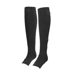 1 paire Chaussettes Montantes de Compression Sculptante Zippée à Bout Ouvert (M, Noir)
