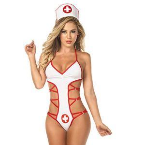 HucodeVan Ensemble Lingerie Sexy Femme Coquine Infirmiere Uniforme Bodysuit Cosplay Nurse Costumes Erotique Seduction Ouverte Infirmière Déguisement