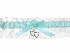 Porte-bonheur jarretière de mariée mariage en organza bleu clair/blanc/motif cœurs argentés