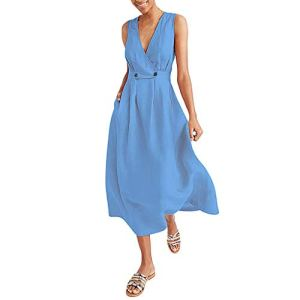 Robes FNKDOR Mode Femmes Col en v Couleur Pure Gilet sans Manches Bouton Facile Sablonneux PlageRobe(Bleu,L)