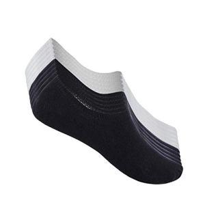 TUUHAW Chaussettes Basses pour Femmes Hommes 10 Paires Socquettes de Sport en Coton Antiglisse des Décontractées-noirblanc-3942
