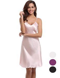Abollria Chemise de Nuit Satin Bretelles Reglables Nuisette Dentelle Sexy V Robe de Nuit Romantique, Pink, XL