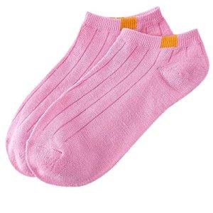 Evansamp_Socquettes unisexes en coton à rayures – Rose – taille unique