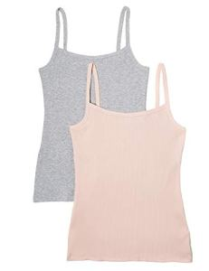 Iris & Lilly Ribbed Maillot De Corps, Multicolore (Marl/Rose Smoke), 36 (Taille fabricant: X-Small), Lot de 2