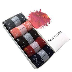 YHSY 5 Paires/Lot Laine Chaussettes Femmes Hiver Neige Fleur Motif Cachemire Chaud Chaussettes Dames Filles Cadeau De Noël Une Taille Avec Boîte-Cadeau