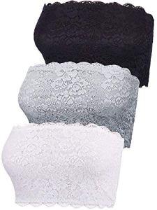 3 Pièces Tube Top de Dentelle Florale de Femmes Soutien-Gorge Bandeau sans Bretelles Soutien-Gorge sans Couture Enveloppe de Poitrine Extensible (Jeu de Couleur 3, Taille XXL)