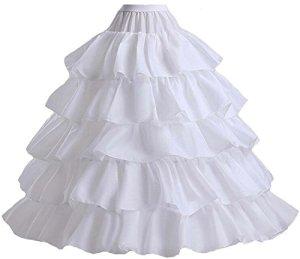 APXPF Femme 5 Volants de Glissement 4 cerceaux Petticoat Jupon pour Robe de soirée de Robe de mariée Taille Unique Blanc