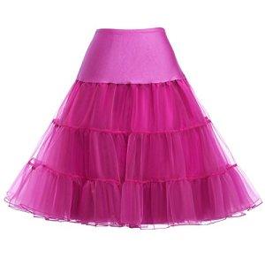 GRACE KARIN Jupon Vintage Rockabilly Marigae Femme en Tulle Ete sous Robe pour Robe de Soiree Rose Rouge 0X CL8922-12