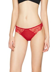Iris & Lilly Tanga Fantaisie avec Tulle Brodé Femme, Rouge (Solid Chilli Pepper), 38 (Taille fabricant: Small)