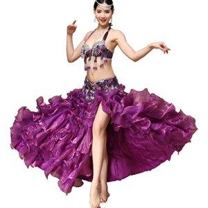 Perle Paillettes Danse du Ventre de Danse Soutien-Gorge Brillant vêtements pour Femmes avec Paillettes côté Split Jupe Dancewear Ensemble, Jupe Swing, Purple, M