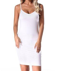 Auxo Combinaison Femme Sexy Lingerie Set Robe Bretelles Babydolls Slim Robe de Nuit Robe Moulante Courte C-Blanc 2XL